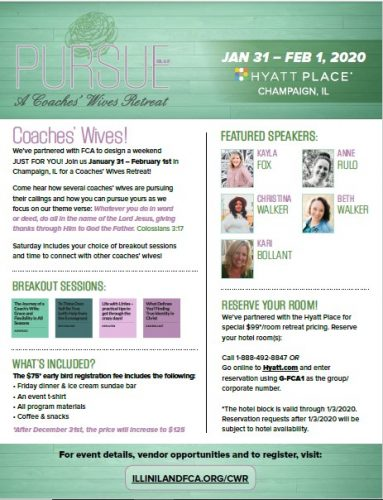 Pursue Coaches' Wives Retreat 2020 promotional flyer