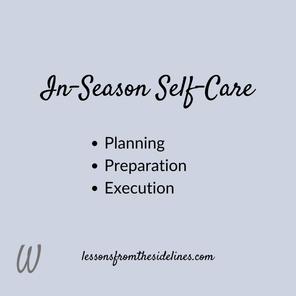 In-Season Self-Care strategy for Coaches' Wives